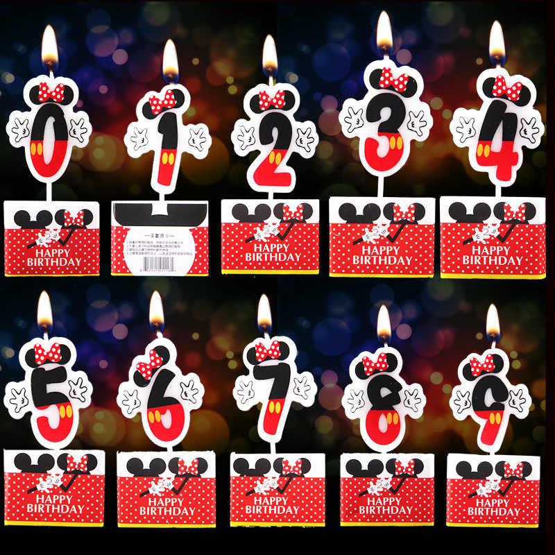 Minnie Mouse Fontes Do Partido Vela Velas Do Partido das crianças para As Crianças Adulto 0-9 Velas Número Bolo Topper Queque fontes do partido