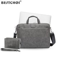 New Laptop Shoulder Bag for macbook air 13 case 13.3 14 15.6 inch Laptop Case for macbook pro 13 case Pu Leather notebook bag