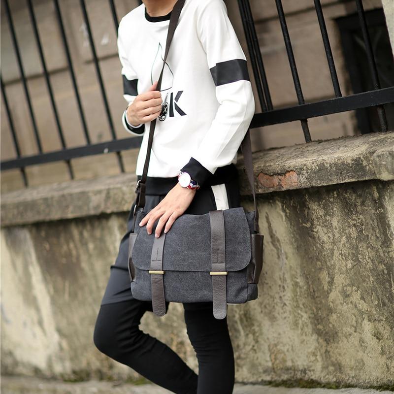 Image 5 - 2019 Male shoulder bag Korean Style man travel crossbody leisure handbags Messenger bag canvas college student messenger bags-in Crossbody Bags from Luggage & Bags