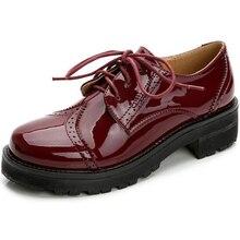2017 frühjahr Neue Mode Ochsen Oxford Schuhe Frauen Schnitzen Muster Designs Lace Up Grob Leder Schuhe frauen Schuhe