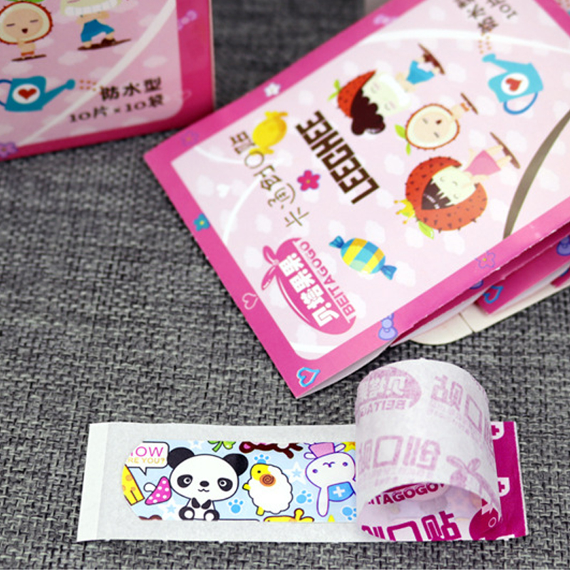 Купить с кэшбэком 50Pcs Children Dreathable Waterproof Wound Patch Cartoon Waterproof Bandage Band-Aid Hemostatic Adhesive For Kids Children
