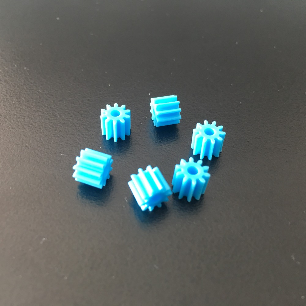 6pcs Sale K934 102A Shaft Gear Blue Color Plastic Small Gears Fit 2mm Axle DIY Model Car Making 10 pcs 2 100mm metal model axle gear shaft diameter 2mm diy toy accessory for car f17664