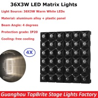 4Pcs Lot Flightcase Pack 36X3W Warm White Led Matrix Light High Power 130W LED Diamond