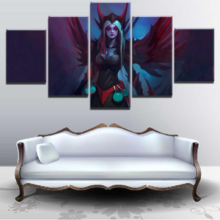 Jogo Cópia do Cartaz da lona Para Sala de estar Decoração Da Parede Retrato Da Arte 5 Peças DotA Bloodseeker 2 Fogo Guerreiro Pintura Quadro