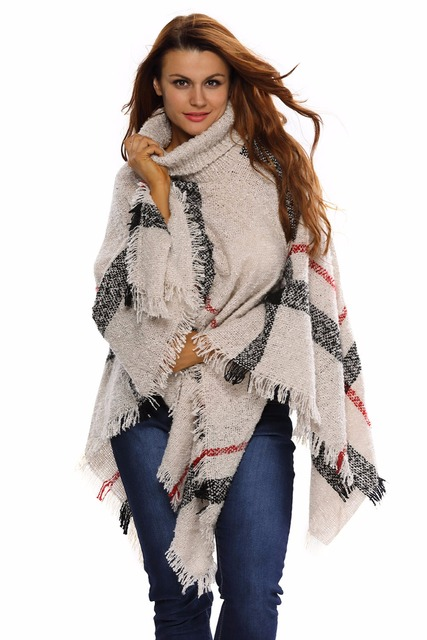 Fashion 2016 Winter Elegant Pullovers Outwear Six Color Turtleneck Tassel Cape Sweater LC27618 Shawl Joker Sweater For Women