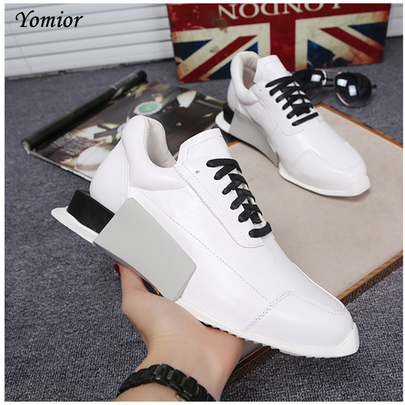 Yomior British Trend Autumn New Style Genuine Leather Flat Shoes Fashion High Quality Men Casual Shoes Cow Leather Loafers aives british style pu leather shoes men s casual flat office soft driving shoes fashion trend lace up men shoes classic loafers
