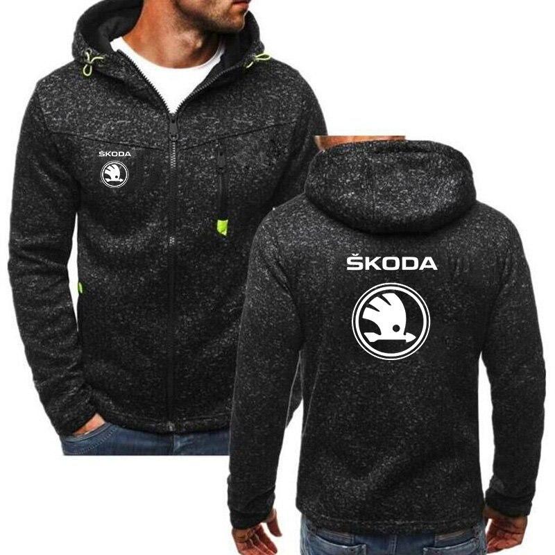 Skoda Rear Logo Zip Through Hoody Hoodie Hooded Top