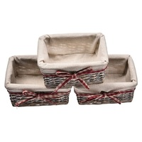 Handwoven Household Wicker Storage Basket With Cloth Liners Large Laundry Organizer Box Pastoral Cover