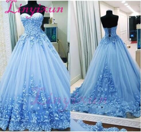 2018 Ball Gown   Prom     Dresses   Sweetheart Sleeveless Appliques Tulle Backless Light Blue Evening   Dresses   vestido de festa longo