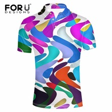 FORUDESIGNS Summer Short Sleeve Breathable Business Polos Male Camise Men Clothes Brightly Colorful Print Man Polo Shirt
