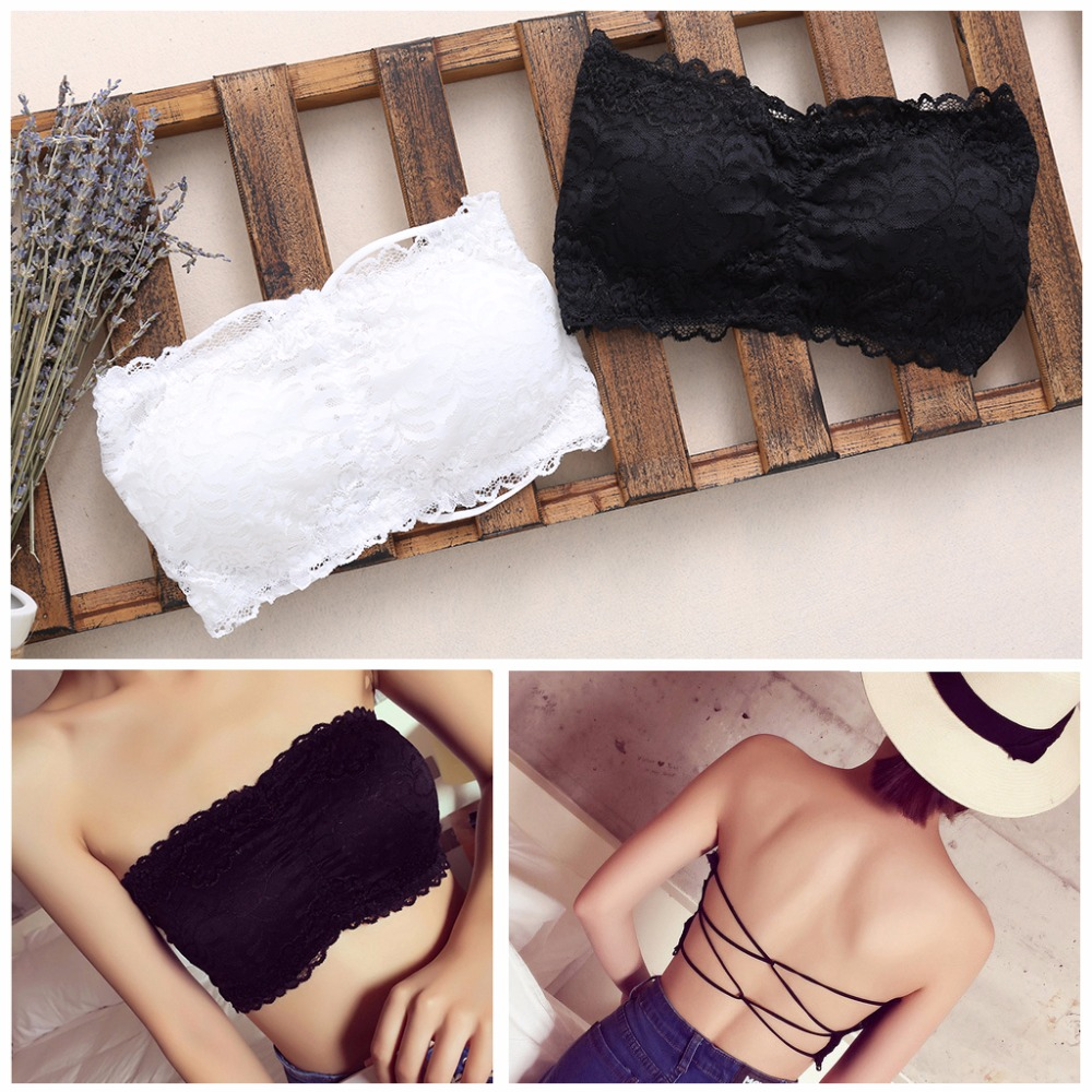 KLV Women Strapless Lace Camisole Backless Slim Sexy Tube Tops White/Black