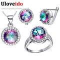 Uloveido nupcial do casamento conjuntos de jóias para as mulheres de prata banhado a colar anel brincos set blue rainbow cz diamante 49% off t484