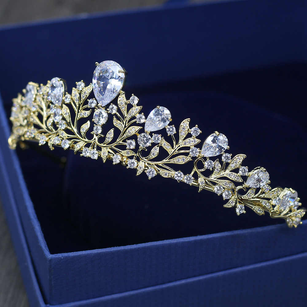 赤木ブランド高品質ヘアアクセサリーウェディング豪華キラキラ AAA 立方ジルコンゴールドカラーの王冠ファッションブライダルティアラ