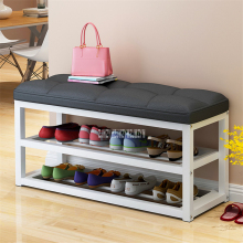 C313 табурет для хранения обуви с металлическим каркасом, стойка для обуви для гостиной, простая сменная скамейка для обуви, органайзер, льняная/Кожаная подушка, шкаф для обуви