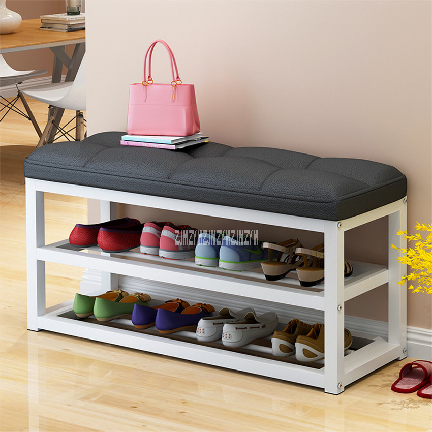 C313 Metal Frame Shoe Storage Stool Living Room Shoe Rack Simple Change Shoe Bench Organizer Flax/Leather Cushion Shoes Cabinet