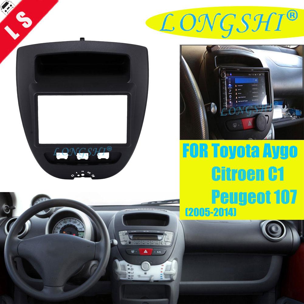 Double Din Car DVD Facia for Toyota Aygo Citroen C1 Peugeot 107 2005 2014 Fascia Dash Kit Radio Panel Stereo Cover Plate Trim 2d