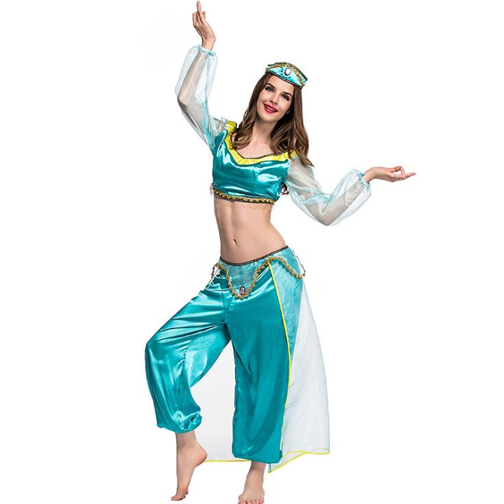 Women Halloween Cosplay Party Belly Dancer Pants Aladdin Princess Jasmine Adults Girls Fancy Dress Costume Free Shipping