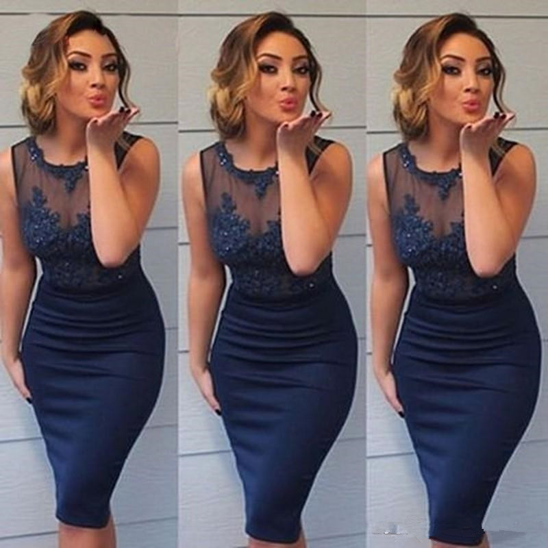 2019 Sexy Sheath Sheer Neck Mother Of The Bride Dresses Sleeveless Women vestido de madrinha Knee Length Lace Formal Party Gown in Mother of the Bride Dresses from Weddings Events