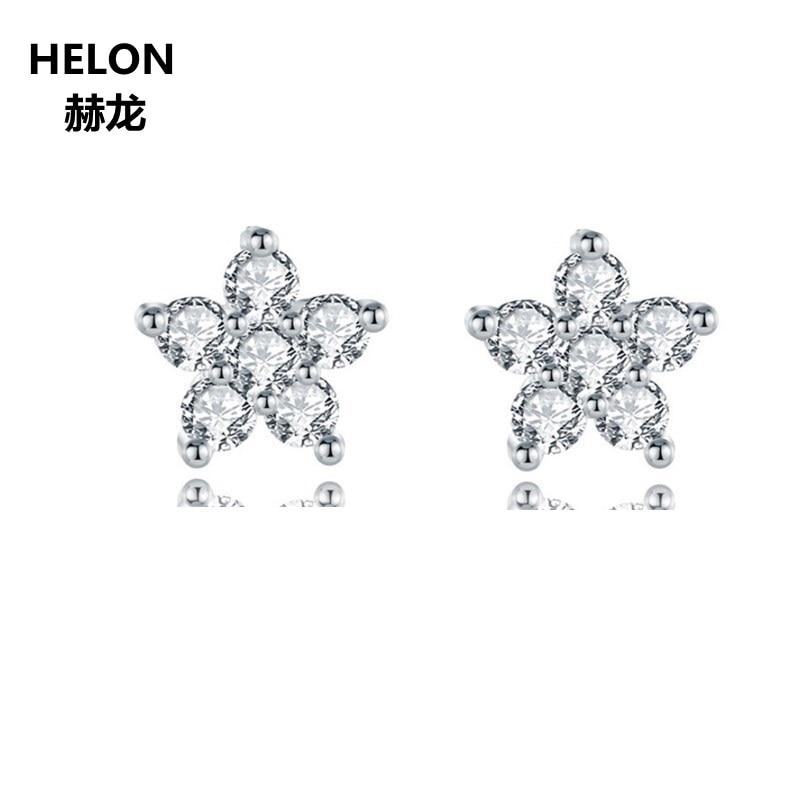 0.18ct SI/H diamants naturels boucles d'oreilles femmes solide 14 k or blanc boucles d'oreilles bijoux fins