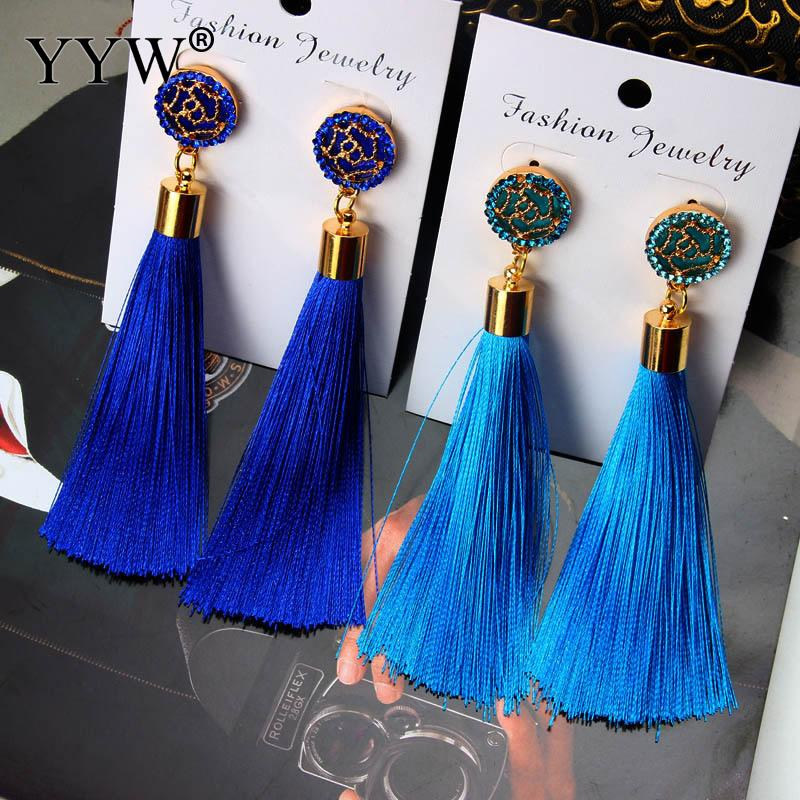 1 Pair Tassel Earrings Boho Bohemian Long Exaggerated Rose Flower Dangling Earrings for Women Wholesale 9 Colors Red Black Blue