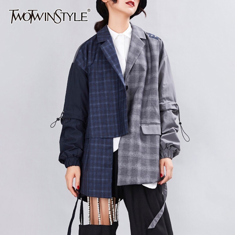 TWOTWINSTYLE Autumn Plaid Patchwork Women Blazer Lapel Collar Long Sleeve Hit Color Asymmetrical Hem Coat Female 2019 Korean
