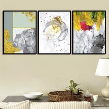 Modern Abstract Colorful Gold And Marble Poster Print Canvas Painting Bedroom Home Decoration Picture Wall Art Can Be Customized(China)