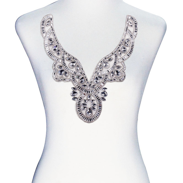 1 piece White Hot Fix Crystal Rhinestone Design Transfer V-Neck Collar  Applique Iron On 25e54909d24f