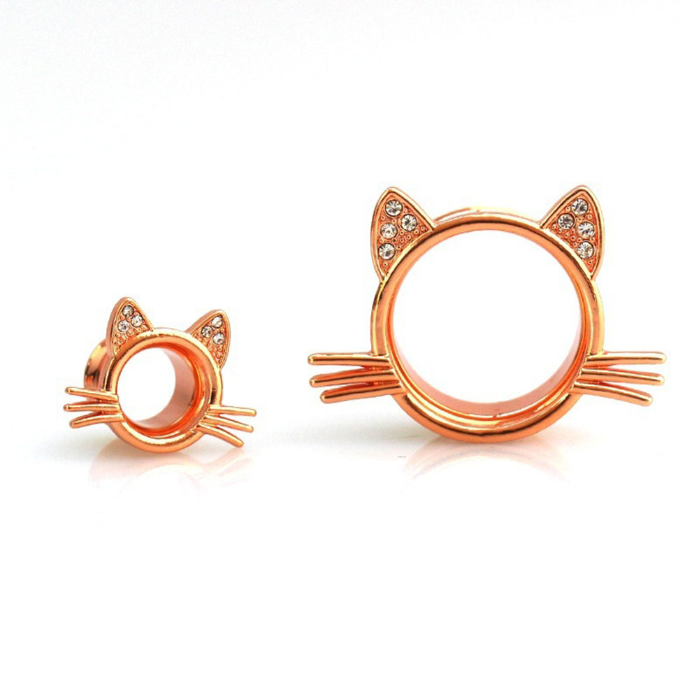 Body Jewelry Hollow Ear Plug Flesh Tunnel Earring Stretching Gauges Jewelry Rose Gold Cat Piercing Expander