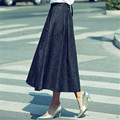Plus Size Vintage Long Skirt Fashion 2017 Casual Pleated Maxi Skirt Ball Gown Skater High Waist Women Winter Skirt Saia C1795