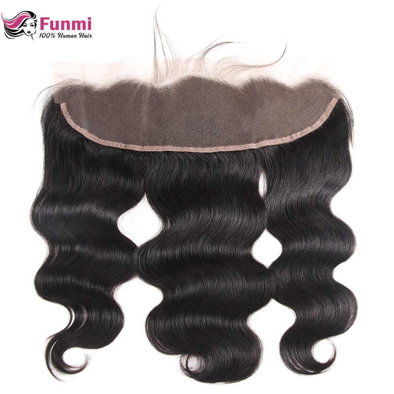 Funmi Indian Body Wave Bundles With Frontal 100% Unprocessed Virgin Human Hair 13X4 Inch Lace Frontal Closure With Bundles 3Pcs