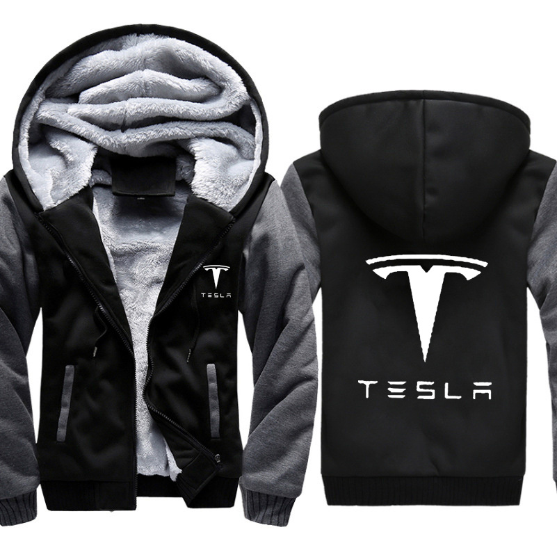 Hoodies Men Tesla Car Logo Print Jacket Mens Hoodies Casual Winter Thicken Warm Fleece Cotton Zipper Raglan Coat Male Tracksuits