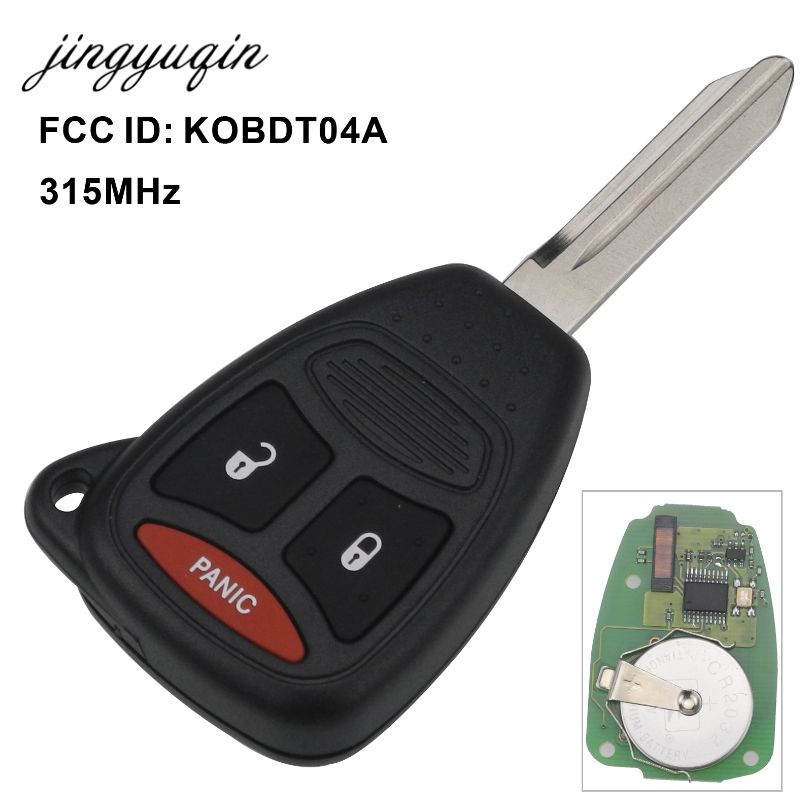 jingyuqin 3 Button Remote key Fob Control KOBDT04A 315MHz for Dodge Dakota Durango Charger for Jeep Grand Cherokee Chrysler 300 dodge dakota durango 17x9 5 double spokes factory oem wheel rim silver remanufactured