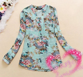 2016 Spring Women Fashion Foral Print Long Sleeve Blouse Shirts Women Sweet Flower Shirts Tops blusas femininas