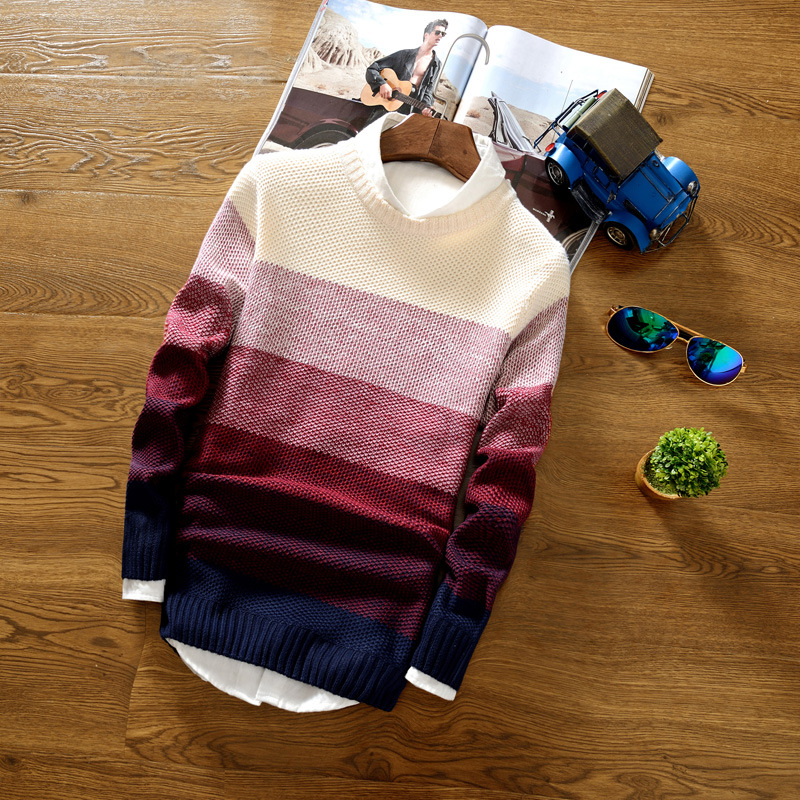 2019 Men's Sweater New Round Neck Korean Version Of The Self-cultivation Men's Sweater Pullover Sweater Color Matching Shirt
