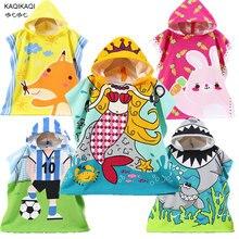 Детский хлопковый пляжный плащ, полотенце, детское банное полотенце с капюшоном с рисунком русалки и акулы для маленьких мальчиков и девочек
