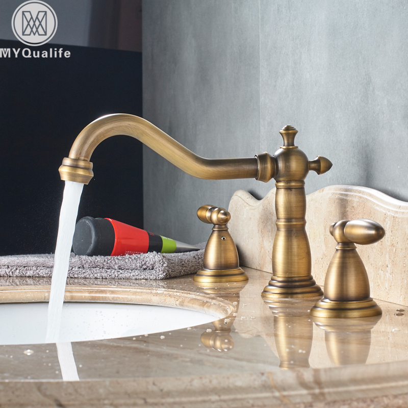 Dual Handle Basin Faucet Widespread Brass Basin Sink Mixer Tap Antique Brass 3 Holes Bath Sink Hot Cold Water Tap antique brass three holes bathroom sink basin faucet mixer tap dual handle