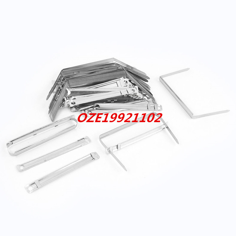 50 Sets Office 8cm Capacity Silver Tone Prong Files Clamp Paper Fasteners