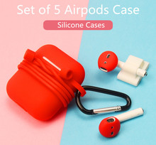Soft Silicone Case For Apple Airpods Colorful Set of 5 AirPods Earphone with Hook Ultra Thin Air Pods Protector