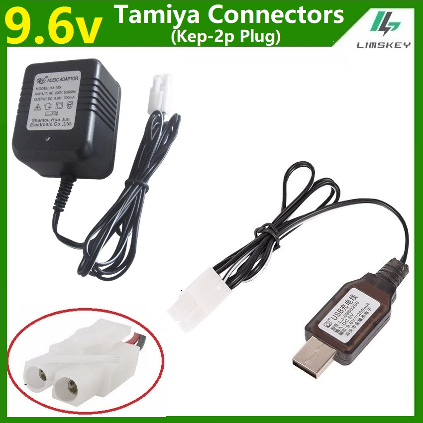 ENET 9.6V Ni-MH Ni-CD Rechargeable Battery 200mA USB Power Supply Charger DC 5V Adapter Charger Connector with L6.2-2P Plug for RC Remote Control Car Boat Tank