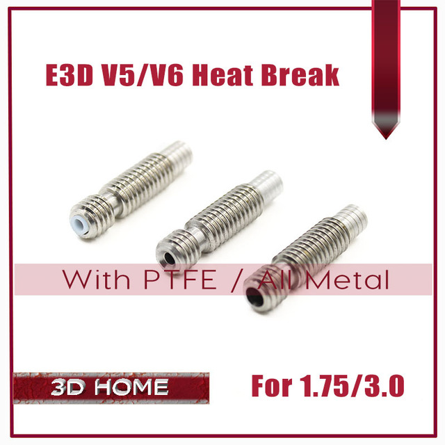 5Pcs E3D Heat Break With PTFE/All Metal Hotend Throat M6 M6 For 1.75 mm/3.0mm Filament Stainless Steel 3D Printer for E3D V6/V5