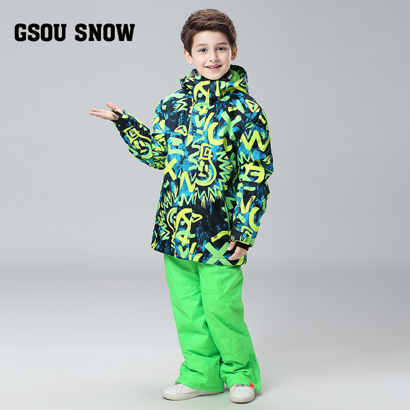GSOU SNOW The new Winter Children Boys font b Ski b font Suit Warm Jackets Pants