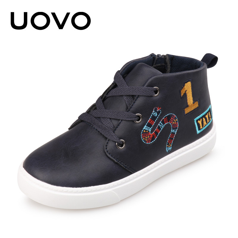 UOVO 2017 Spring Autumn Kids Casual Shoes Lace-up Closure with Cartoon Pattern Sneakers Boys & Girls Shoes EUR 27-36# adidas samoa kids casual sneakers