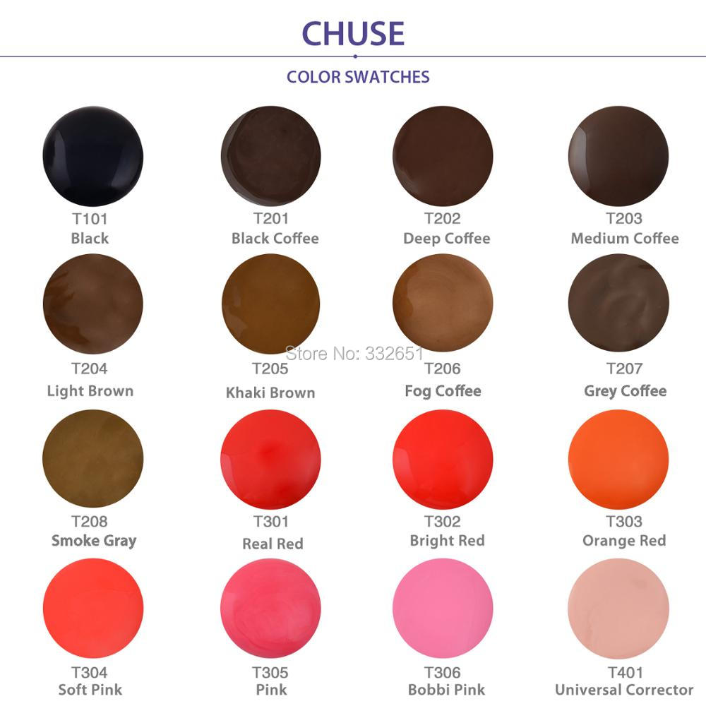 CHUSE Lips Microblading Micro Pigment Permanent Makeup Tattoo Ink Cosmetic Color Passed SGS,DermaTest 6 bottles/Lot T3 TATTOOING