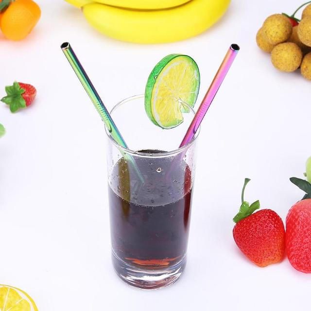 2pcs Reusable Drinking Straws with Cleaner Brush Set Bent or Straight Style Stainless Steel Metal Straw Barware Accessories