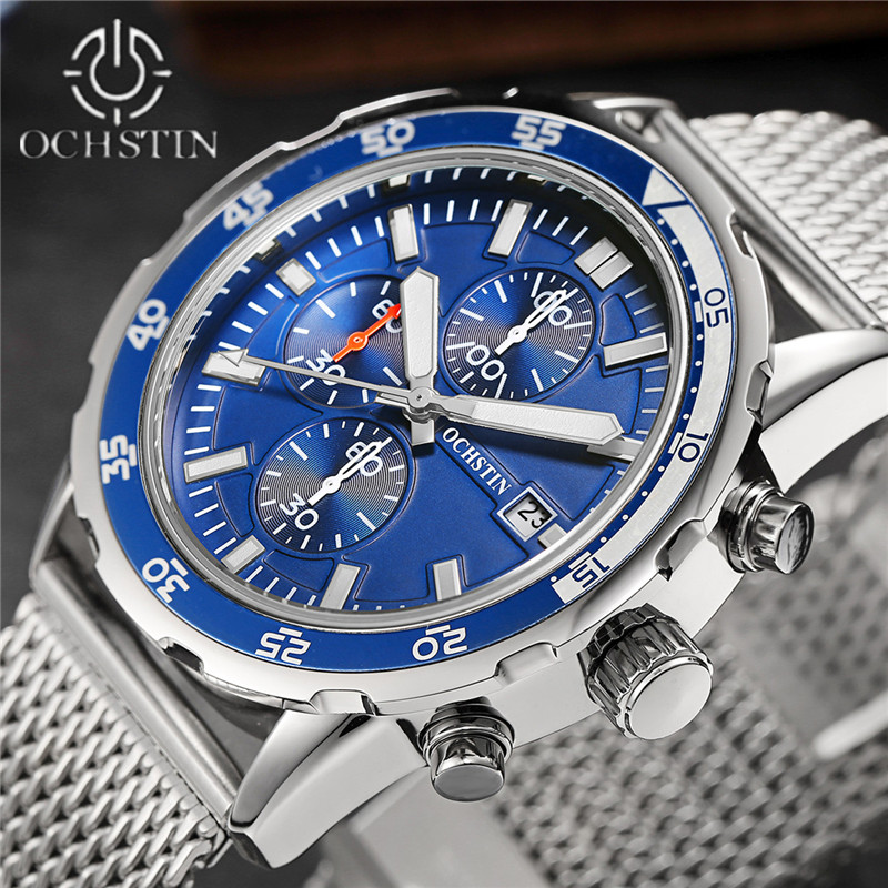 Luxury Brand OCHSTIN Watches Men Quartz Watch Men Steel Band Watch Fashion Casual Sports Wristwatch Male Clock relojes hombre 2017 lige luxury top brand men s sports watches fashion casual quartz watch men military wrist watch male clock relojes hombre