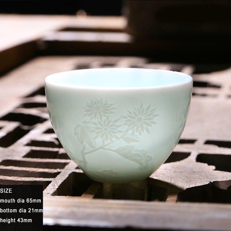 Kung Fu Tea Cup Ceramic Tea Set Wine Bowl Chinese Porcelain Teacup Sets Ceramic Shadow Blue Glaze Hand Engraving Cup Christmas