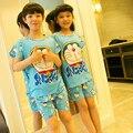 2016 Лето Doraemon Дети Пижамы Девушки С Коротким Рукавом Одежды Устанавливает детская Одежда Мальчиков Pijamas Миньон Детские пижамы наборы