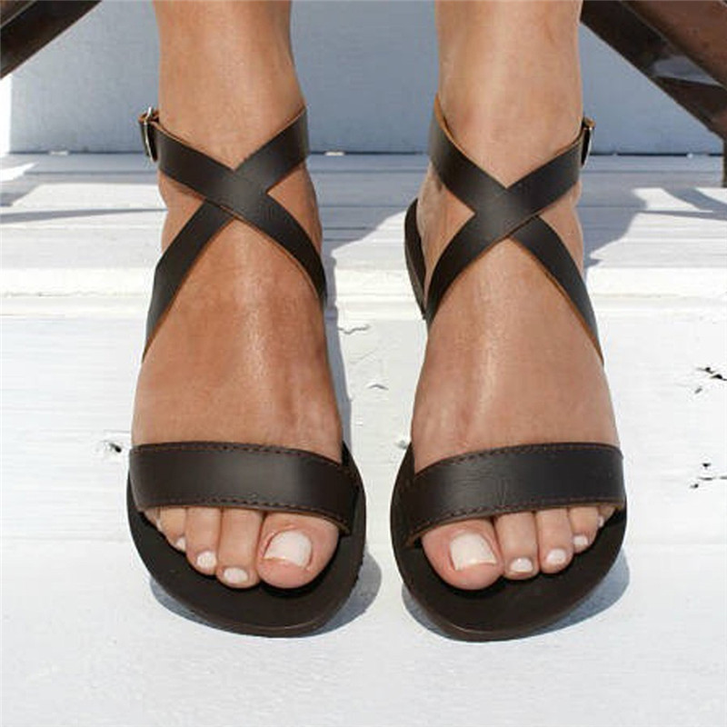 Women Sandals Summer Soft  Beach Shoes Gladiator Sandals Leather Shoes Ladies Casual Peep Toe Flats sandalias mujer 2019Women Sandals Summer Soft  Beach Shoes Gladiator Sandals Leather Shoes Ladies Casual Peep Toe Flats sandalias mujer 2019