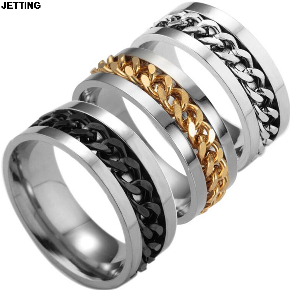 Jetting 1pc Spinner Black Chain Ring For Men Punk Titanium Steel Metal  Finger Jewelry(china