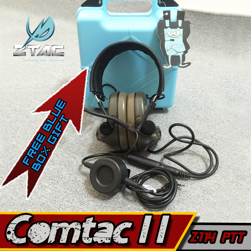 Z 041 Z-Tac Headset Noise Reduction Canceling Electronic Sound Pickup Comtac II for Peltor Tactical Military Paintball with PTT new z tac comtac iii headset c3 dual channel pickup noise reduction headset airsoft hunting earphone